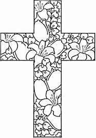 Religious Easter Coloring Pages Flowers Printable And Tribal Cross Page Medium Size