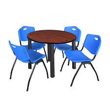 100 Cherry Table And 4 Chairs Kee 2 Round Breakroom Black M Stack Blue