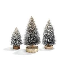 LampLust Bottle Brush Christmas Trees Silver Sisal Table Top Decoration