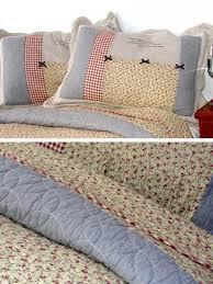 color block embroidery lightweight summer quilt bedding set 1