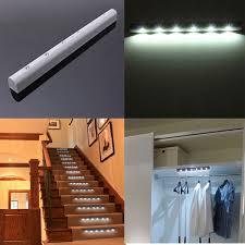 pir motion sensor 6 led battery powered cabinet light home stair