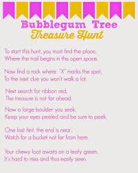 Printable Halloween Scavenger Hunt Clues by Juicy Fruit Bubble Gum Tree Treasure Hunt With Free Clues
