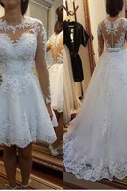 1 2 2017 A Line Scoop Neck Wedding Dresses Chapel Train Tulle With Applique Beading Detachable Skirt