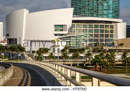 Port Blvd Bridge American Airlines Arena and skyscrapers Miami