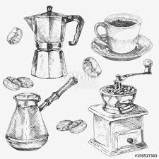 Hand Drawn Coffee Collection Cup Maker Grain Grinder