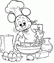 Mickey Mouse Was Cooking Coloring Pages