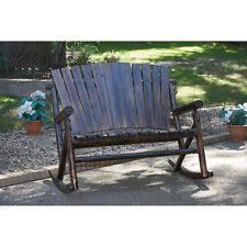 Char Log Double Rocker Porch Rocking Chair Wooden Deck Patio Yard Furniture New
