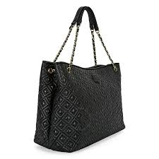 Tory Burch Marion Quilted Leather Tote Black Tory Burch