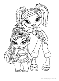 Bratz Color Page Cartoon Characters Coloring Pages Plate Sheetprintable