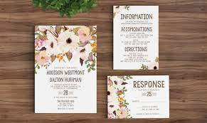 Wedding Invitation Template Printable Rustic Bohemian Floral Free Templates