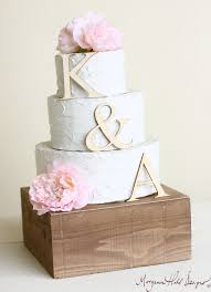 Personalized Wedding Cake Topper Wood Initials Rustic Chic Country
