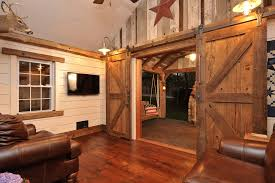 Barn Style Interior Doors Family Room Rustic With Americana Lighting Brown Image By LBonadies General Contracting