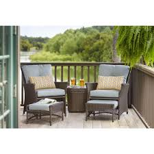 Outdoor Bench Cushions Home Depot by Hampton Bay Blue Hill 5 Piece Patio Conversation Set With Blue