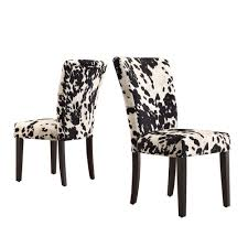 HomeSullivan Whitmire Black Cowhide Fabric Parsons Dining Chair (Set ... Black Fabric Ding Room Chairs Metal Isabella Chair Pairs Grey Lovely 25 Set Of 2 Brookville Belianifr Modern Design Buy Ding Chairs Blackandwhite Upholstered Hgtv Merax Rowico Vicky With Legs Pair Golden Homesullivan Whitmire Cowhide Parsons Two Kingston Floral And White Four Whosale Chair Room Fniture Jaelynn Scroll Gdf Studio