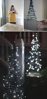 Christmas Tree Using Tomato Cage And String Lights