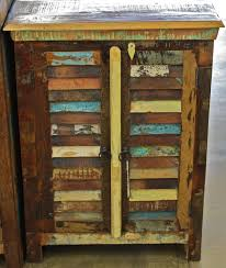 Reclaimed Teak Rustic Shutter 2 Door Cabinet With A Aged Finish