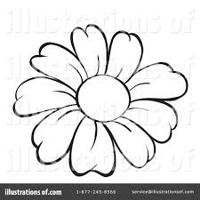 White Flower Clipart Line Drawing 13