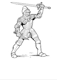 Knights Learn To Use The Sword Coloring Pages For Kids Printable Castles And