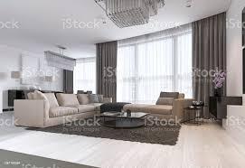 moderne leichte zeitgenössische wohnzimmer mit großen eck sofa und essbereich konsole mit einem spiegel tv gerät kaffee und beistelltisch stockfoto