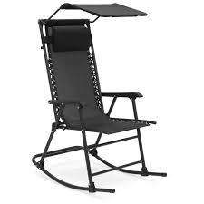 Best Choice Products Outdoor Folding Zero Gravity Rocking Chair W/  Attachable Sunshade Canopy, Headrest - Black