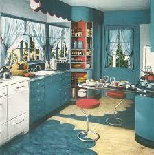 1940s Kitchen Full Of Blue Linoleum