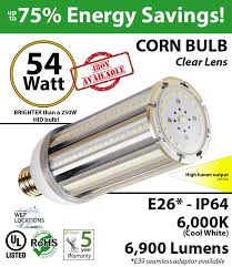 54w led corn light bulbs 300 watt hps replacement go green