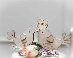 Boho Wedding Cake Topper Bird Personalised Love Rustic