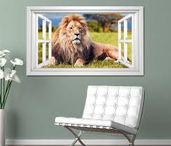 3d wandtattoo fenster löwe mähne afrika tier stolz weiß wand aufkleber wanddurchbruch sticker selbstklebend wandbild wandsticker wohnzimmer 11o2653