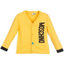 baby boys yellow knitted logo cardigan moschino boy tops