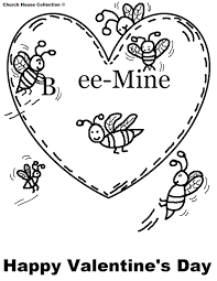 Printable Valentine Coloring Pages Hello Kitty Bee Mine Free Valentines Day For Toddlers Full Size