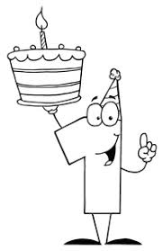 Free First Birthday Clip Art Image Birthday Coloring Page with a Birthday Cake and the