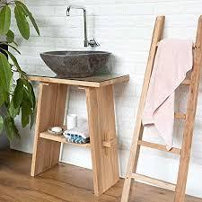 wohnfreuden waschtisch aus teak holz 74 cm hoch 60 cm lang geschliffene oberfläche ideal für naturstein aufsatzbecken waschbecken unterschrank