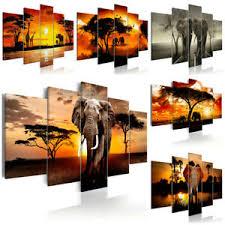 details zu vlies leinwand bilder afrika sonne elefant natur ethno wandbilder wohnzimmer