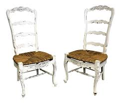 Pair Of French Country White Carved 4-Rung Rush Seat Ladderback ... Antique Set Of 12 French Louis Xv Style Oak Ladder Back Kitchen Six 1940s Ding Chairs Room Chair Metal Oak Ladder Back Chairs Avaceroclub Fniture Classics Solid Wood Wayfair 10 Rush Seat White Painted Country Shabby Chic Cottage In Theodore Alexander Essential Ta Farmstead A 8 Nc152 Bernhardt Woven