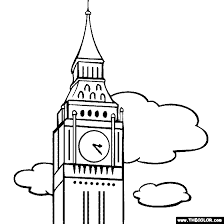 Big Ben Clock Tower London England Coloring Page