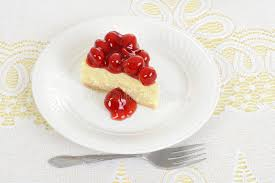 Download Top View Slice Cherry Cheesecake Stock Image of dessert bakery