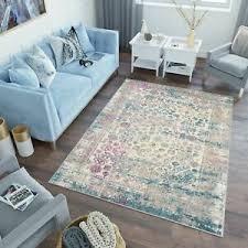 teppich modern lazur blumenmuster vintage gray wohnzimmer