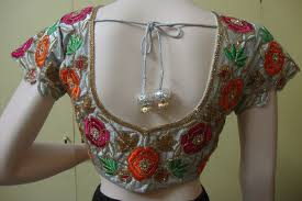 Simple Bead Work Blouse Design