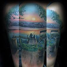 Father And Son Fishing Memorial Guys Upper Arm Tattoo