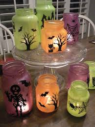 Cute Halloween Decorations Pinterest by Painted Halloween Jar Candles Great For Reusing Empty Jic Jars