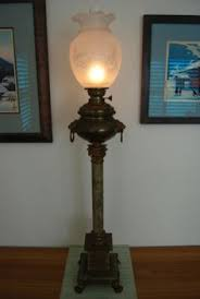 Ebay Antique Kerosene Lamps by Antique Banquet Kerosene Oil Lamp With Hand Painted Ball Shade