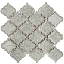 Glazzio Tiles Versailles Series by Roman Collection Frosty Morning Arabesque Glass Tile Kitchen