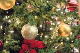 Christmas Tree Decoration With Ornaments Lights And Poinsettia Closeup Stock Photo