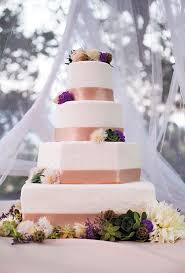 Square Wedding Cakes With Ribbon And Flowers