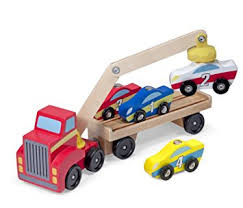 amazon com melissa u0026 doug magnetic car loader wooden toy set with