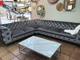 chesterfield garnitur designer samt grau gold sofa set