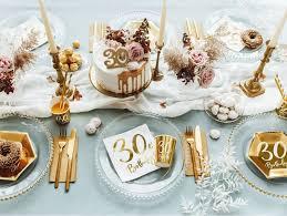 20 servietten zum 30 geburtstag weiß mit gold metallic