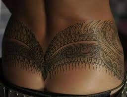 Polynesian Tribal Lower Back Tattoos