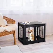 pawhut hundehütte mit tischoberfläche hundebox für innen hundekäfig für zuhause 2 türen tierkäfig haustier mdf metall schwarz 81 x 58 5 x 66