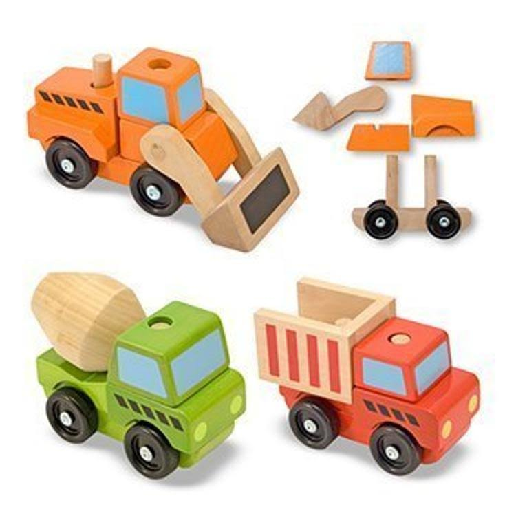 Melissa and Doug Stacking Construction Vehicles Wooden Toy Set